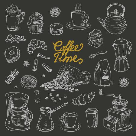 Illustration pour Collection of coffee doodle elements for cafe menu, fliers, chalkboard on dark background. Vector  illustration for your design - image libre de droit