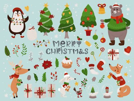 Photo pour Christmas set with isolated cute forest animals and different items. Illustration for kids, X-mas holidays. - image libre de droit