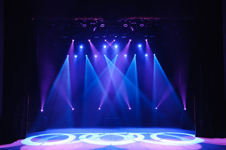 Photo for Free stage with lights, background of empty stage, spotlight, neon light, smoke. - Royalty Free Image