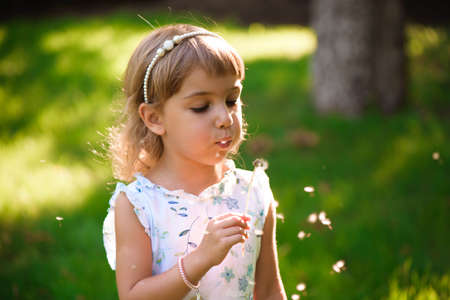 Photo for portrait of a beautiful little girl with flowers - Royalty Free Image