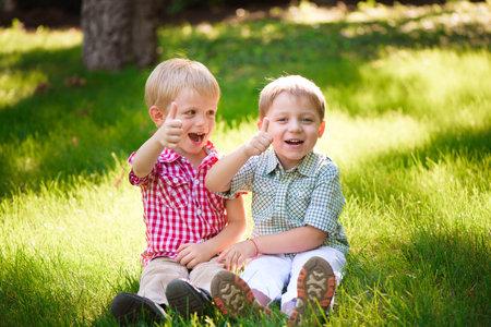 Photo pour These two boys are best friends. Friends for life. - image libre de droit