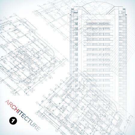 Architectural background  Part of architectural project, architectural plan, technical project, drawing technical letters, architecture planning on paper, construction plan