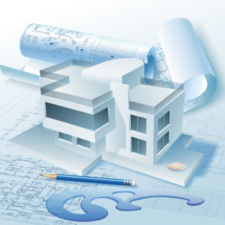 Architectural background with a 3D building model  Vector clip-art
