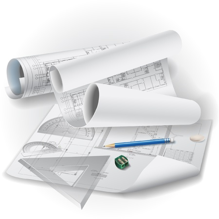 Architectural background with drawing tools and rolls of drawings clip-art