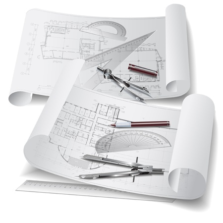 Architectural background with drawing tools and rolls of drawings   clip-ar