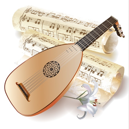 Musical series - Late Baroque era lute with musical notes in retro style