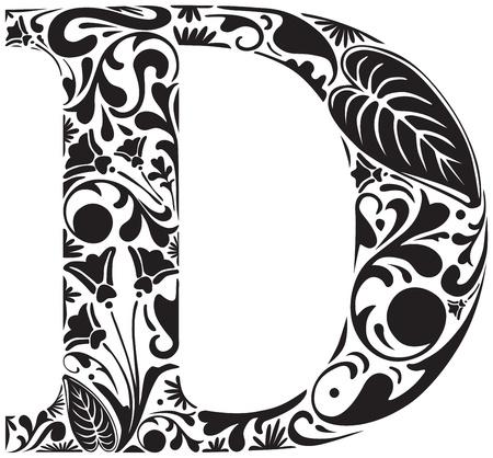 Floral initial capital letter D