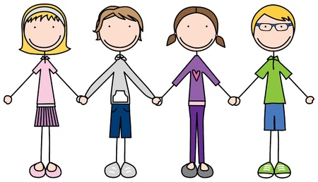 Illustration of four kids holding hands