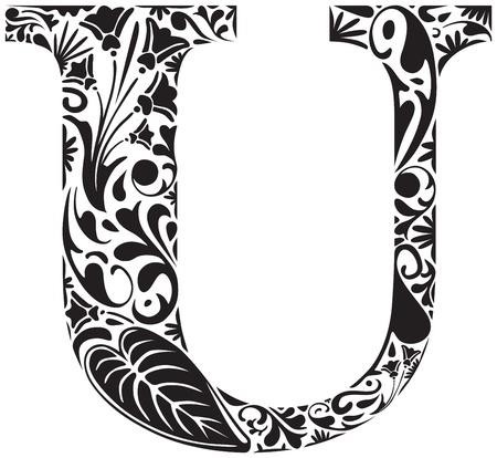 Floral initial capital letter U