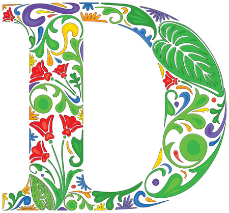 Colorful floral initial capital letter D