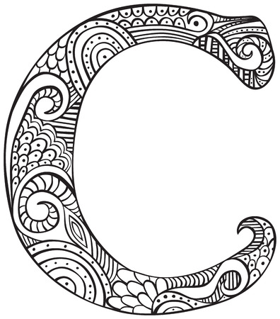 Hand drawn capital letter C in black - coloring sheet for adults