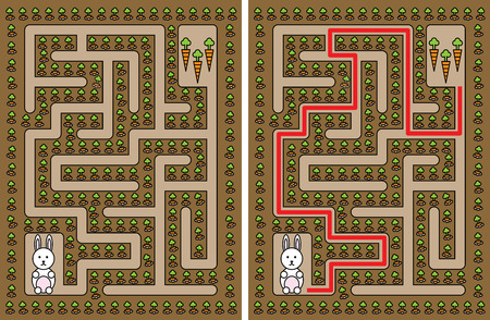 Easy rabbit maze for younger kids with a solution: Royalty