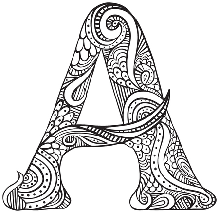 Hand drawn capital letter A in black - coloring sheet for adults