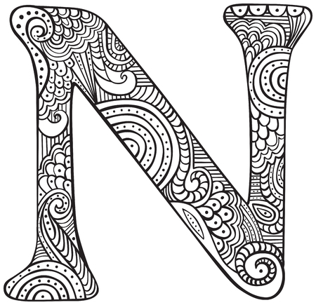 Hand drawn capital letter N in black - coloring sheet for adults