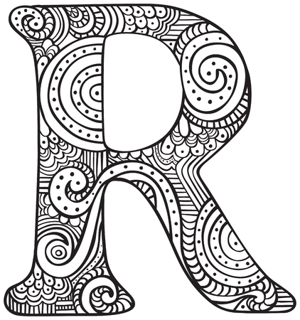 Hand drawn capital letter R in black - coloring sheet for adults
