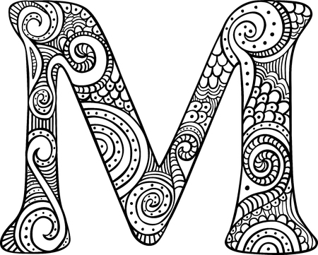Hand drawn capital letter M in black - coloring sheet for adults