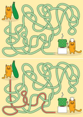 Illustration pour Little cat cooking maze for kids with a solution - image libre de droit