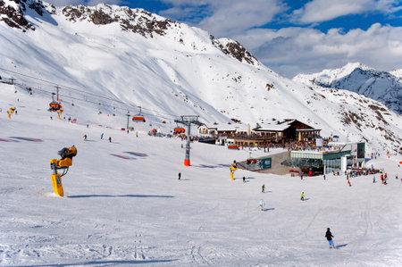 Solden, Austria - MARCH 3, 2013: Middle station area in Solden, Alpine ski resort in Tirol, Austria