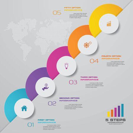 Illustration for 5 steps infographics chart design element. For data presentation. - Royalty Free Image