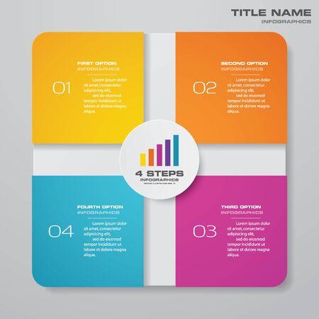 Illustration pour 4 steps simple&editable process chart infographics element. - image libre de droit