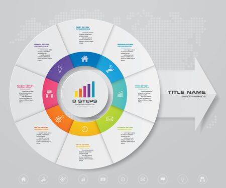 Illustration for 8 steps pie chart/ circle chart with arrow infographics design element. - Royalty Free Image