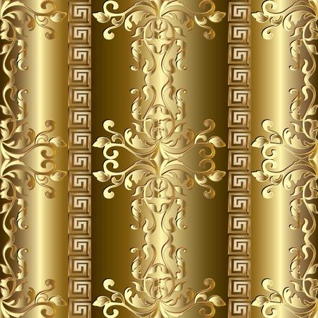 Ilustración de Gold Baroque seamless pattern. Greek ornaments. - Imagen libre de derechos