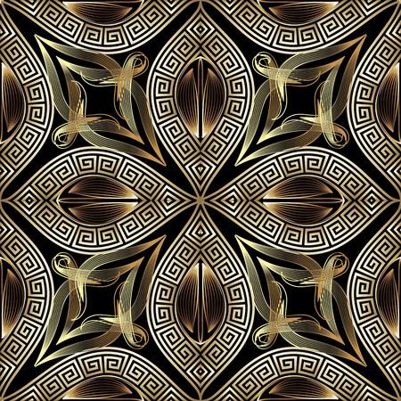 Illustration pour Greek vintage gold 3d floral vector seamless pattern. Ornamental ornate background. Repeat patterned modern backdrop. Elegance greek key meanders ornament. Golden line art flowers, leaves, frames - image libre de droit