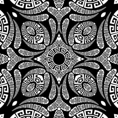 Illustration pour Floral Paisley vector seamless pattern. Ornamental greek ethnic style background. Vintage abstract paisley flowers, geometric shapes, circles, curves. Greek key meander lace black and white ornaments - image libre de droit