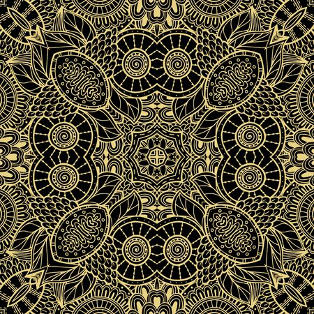Illustration pour Floral lines vector seamless pattern. Ornamental ethnic tribal style lace background. Doodle line art tracery lacy ornament. Abstract shapes, vintage flowers. Elegance ornate repeat fantasy backdrop. - image libre de droit