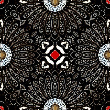 Illustration pour Floral vector seamless pattern. Ornamental modern background. Dark black abstract flowers, leaves. Geometric repeat backdrop. Greek key meanders ornament. Round greek mandalas, Symmetrical design. - image libre de droit