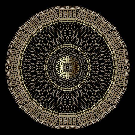 Illustration pour Gold greek style 3d grid vector mandala pattern. Ornamental golden lace zig zag background. Greek key meander round frames, shapes, zigzag, circles. Textured repeat ornament. Geometric ornate design. - image libre de droit