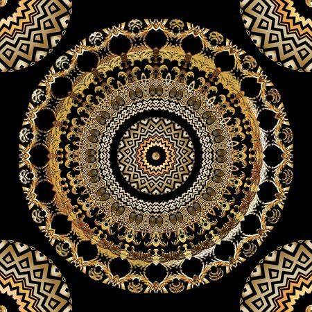Illustration pour Baroque vector mandalas seamless pattern. Ornamental antique style background. Repeat floral backdrop. Vintage flowers, leaves, frames, borders. Greek key meanders. Zigzag lines, geometric shapes. - image libre de droit
