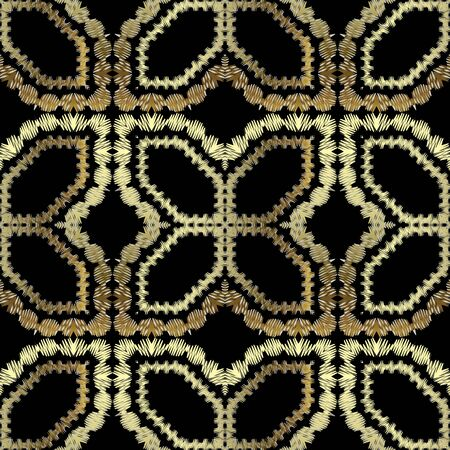 Illustration pour Textured gold vector seamless pattern. Arabian tapestry background. Repeat grunge tribal ethnic backdrop. Embroidered arabesque ornament. Stitching embroidery golden texture with zigzag lines, shapes. - image libre de droit
