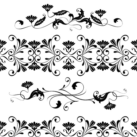 Vector set swirling decorative floral elements ornament