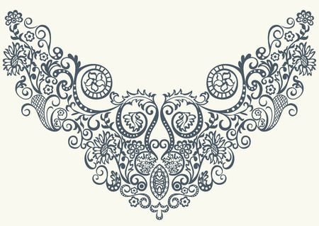Illustration pour Fantasy abstract ornamental floral pattern embroidery fashion design for print clothes or shirt - image libre de droit