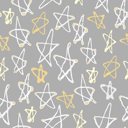 Illustration pour Seamless pattern with stars for Holiday Merry Christmas or New Year on a grey  background - image libre de droit