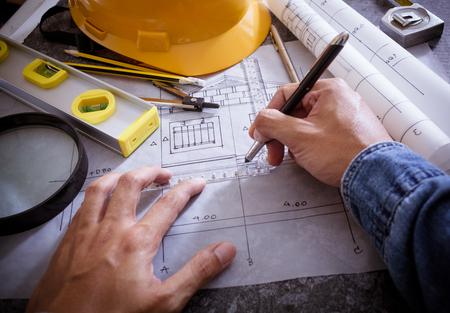 Foto für Architectural design and project blueprints drawings - Lizenzfreies Bild