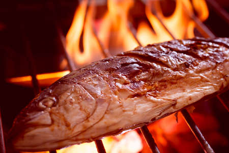 Photo pour Hot fish on a grilling pan - image libre de droit