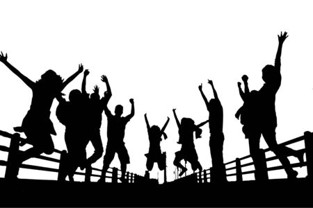 Photo for silhouette of happy people jumping isolated on white background - Royalty Free Image