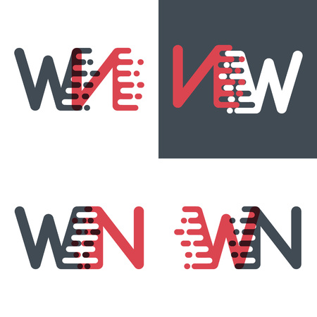 WN letters logo with accent speed pink and dark gray