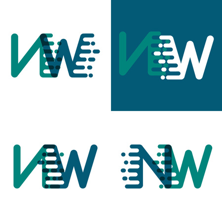 NW letters logo with accent speed in green and dark purple