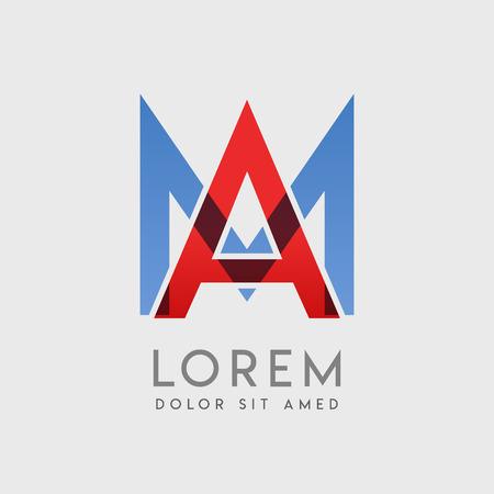 AM logo letters with blue and red gradation