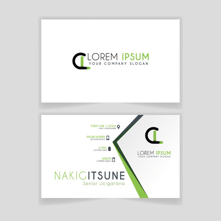 Simple Business Card with initial letter CL rounded edges with green accents as decoration.