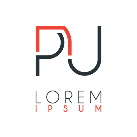 The logo between the letter P and letter U or PU with a certain distance and connected by orange and gray color