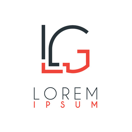 The logo between the letter L and letter G or LG with a certain distance and connected by orange and gray color