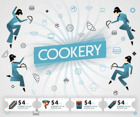 blue vector illustration concept. Cookery food recipes cover