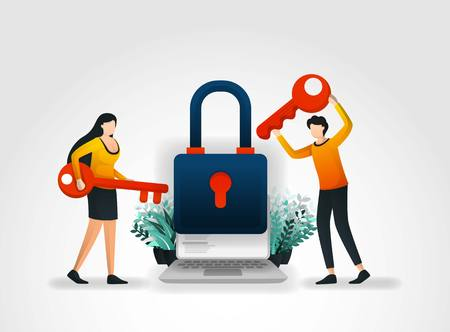 Illustration pour Vector illustration concept. people are holding key to trying to enter and unlock application security but fail because executive protection and products from security services company that very good. - image libre de droit