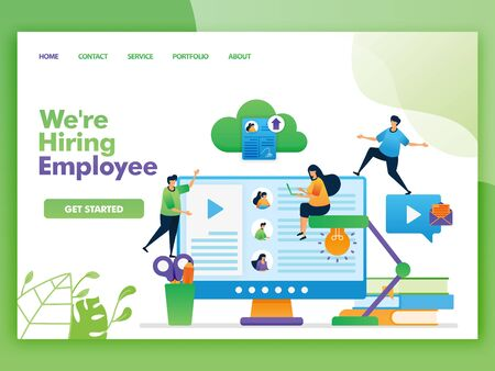 Illustration pour Landing page vector design of we're hiring employee. Easy to edit and customize. Modern flat design concept of web page, website, homepage, mobile apps UI. character cartoon Illustration flat style. - image libre de droit