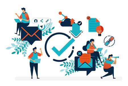 Illustration pour Read verified e-mail. Verify circle symbol to receive and reply messages.Simple tick symbol vector illustration for landing page, web, banner, template, background, mobile apps, ui, flyer, poster - image libre de droit