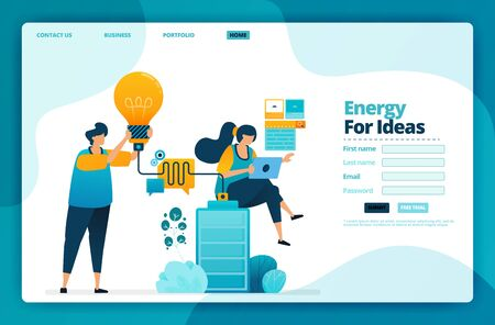Ilustración de Landing page vector design of energy for ideas. Design for website, web, banner, mobile apps, poster, brochure, template, billboard, welcome page, promotion, cover, business card, advertisement - Imagen libre de derechos